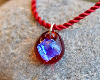 Dichroic Teeny Glass Pendant Boro Lampwork on Braided Satin Cord - Be Mine
