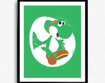 Super Smash Bros - Yoshi Spray Art Poster - video game print, wall art, nintendo