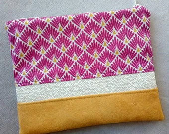 """Zipped hand clutch in mustard Suede, faux leather fabric and white """"Fishscale"""" Plum, make-up bag pouch"""