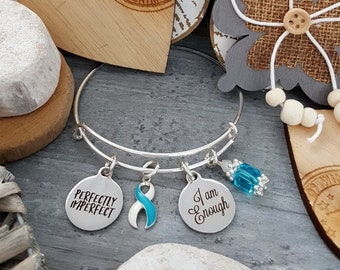 TW-4 Eating Disorder Recovery Jewelry Awareness Clean Date Bracelet Gift For Her Addiction Recovery Jewelry I Am Enough Perfectly Imperfect