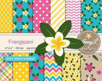 Frangipani Digital Papers & clipart SET, Plumeria Flower, Kalachuchi Floral for Digital Scrapbooking, invitations, Planner
