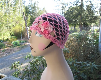 Pink Cotton Summer Hat Crocheted by SuzannesStitches, Girl's Summer Hat with Flower, Teen Pink Cotton Summer Hat, Pink Cotton Formal Hat