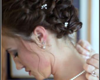 Bridal Necklace. Swarovski Bridal Jewelry, Simple Single Strand Large Pearl Bridal Necklace. Wedding Jewelry. Pearl Necklace Earrings Set