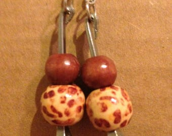 Horse shoe nail wooden beads dangle and drop earrings