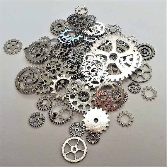 "CLEARANCE 93 pcs Steampunk Clock Gears Cogs Charms Assorted Mixed Metal Bike Steampunk Jewelry Silver Bicycle Watch Gears 1/2"" to 1 5/8"""