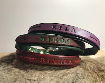 Leather personalized Dog or Cat Collar with Custom Color options