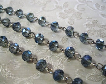 """Faceted Sapphire Blue AB Rondelle Glass 6 x 8mm One Meter 39.5"""" Beaded Rosary Link Chain Antique Silver 988-03"""