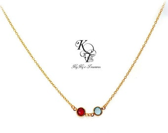 Gold Birthstone Necklace Birthstone Jewelry Gold Mothers Necklace Mothers Jewelry Mothers Day Gift Anniversary Gift for Mom FREE Gift Box