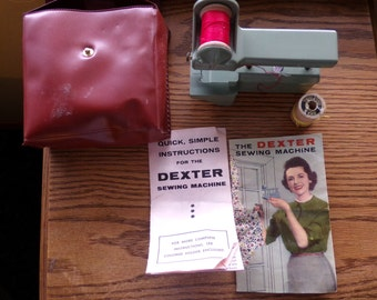 Vintage Dexter hand held sewing machine with case, Vintage sewing, Vintage Dexter, Craft Room Décor, gift for her