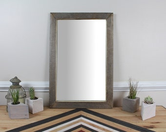 Reclaimed Wood Wall Mirror, Weathered Wood, Bathroom Mirror, Vanity Mirror, Farmhouse Mirror