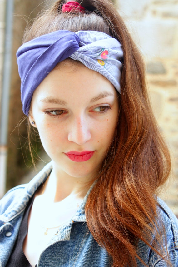 Headband-Turban hair Retro blue and white stripes and flowers. Jersey and cotton. Headband