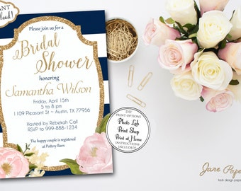 INSTANT DOWNLOAD - Floral Navy and White Stripe  - Peony Flowers - Gold Glitter and Blush Pink Bridal Shower Invitation - 0147