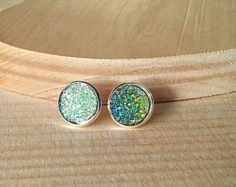 Green Druzy Stud Earrings, Druzy Earrings, Druzy Studs, Faux Druzy Earrings, Faux Druzy Studs, Hypoallergenic, Dot Earrings, Green