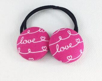 Heart hair ties, Girls pink hair ties, Elastic Ponytail Holder, Button Hair Clip, Girls pigtail holder, button elastic, hair ties for women