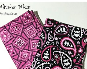 pink skulls reversible dog scarf, dog bandana, pet scarf, pet bandana, pet attire, pet clothing,summer, reversible, girlie skulls