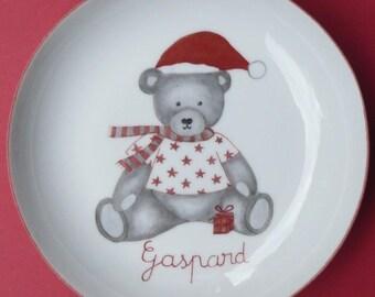 Personalized birthstone Teddy bear Christmas plate