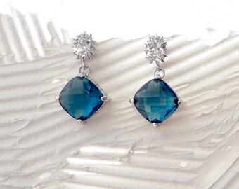 Blue Stone earring,cubic zirconia earring, Dangle Earrings, deep blue Earrings, glass stone, Bridesmaid gifts, Sapphire earring,Montana blue