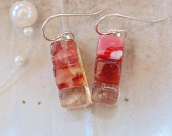 Pink, Amber, Red, Dichroic Earrings, Petite, Glass, Fused Jewelry, Dangle, Sterling Silver, Murrini, One of a Kind, A13