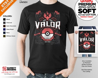 T Shirt of my Team Valor Red PG game art clothing design for Men and Women by Barrett Biggers