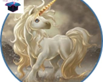 1 cabochon clear domed 14 mm Unicorn theme