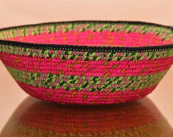 Fabric Rope Coiled Basket: Fabric Pottery Neon Green Pink Black Yellow - Round