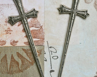 Two Excalibur Sword Brass Stampings, Brass Ox, Medieval, Jewelry Supplies and Crafting