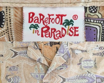 70s Vintage Barefoot in Paradise Shirt Mens Cotton Tiki Tribal Aboriginal Fish Beach Island Tropical XL Made in USA