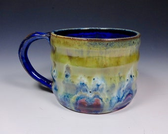 Handmade Pottery Mug Ceramic Stoneware Cascades of Color glazing from Sidhefire Arts
