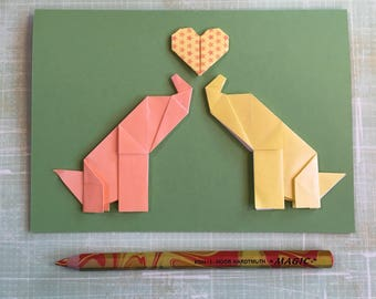 Origami large greeting card - two elephants with heart (yellow and orange)
