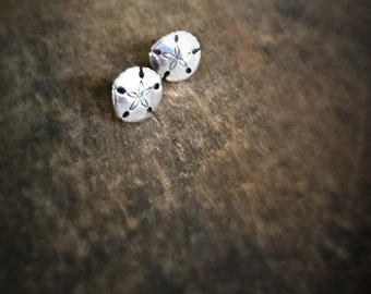READY TO SHIP Tiny Sand Dollar Stud Earrings, Silver Post Earrings, Sand Dollar Jewelry Beach Jewelry, Boho Jewelry Gift for Her