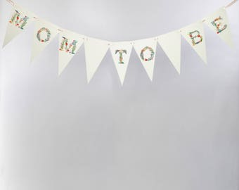 "Baby Shower Bunting ""Mom To Be"" Banner with Floral Pastel Font 