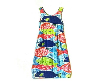 Vintage 1990s Jams World bright colorful neon babydoll fish abstract midi dress