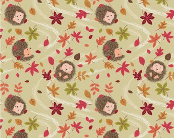 Autumn in Bluebell Wood from Lewis + Irene - Full or Half Yard of Little Hedgehogs and Leaves