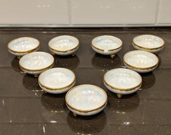 9 O & E.G. Royal Austria 3 footed Salt cellars pearlized, iridescent