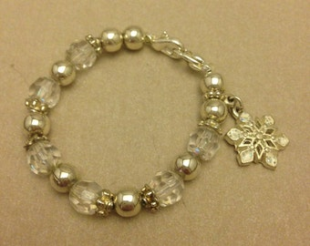 Vintage Child's Snowflake Crystal Bracelet