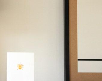 Honey Bee Letterpress Greetings Card in Golden Yellow
