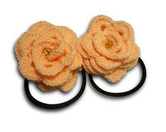 Crochet scrunchy,  Roses Crochet Hair Ties, Elastic hair ties, Flowers hair accessory, peach, Elastic hair ties, Flower Ponytail Holder