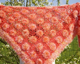 Orange crochet shawl with beads