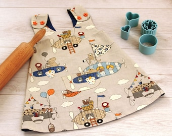 Kids Cooking Apron, Apron For Boys, Childrens Cooking Apron, Boys Apron, Gift Under 30, Pinafore Apron Grey Blue With Airplanes