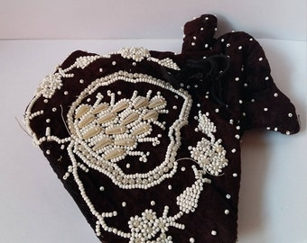 Vintage Twenties Beaded Evening Purse, Reticule Purse, Velvet with Beading, Dolly Bag, 1920s, Flapper Purse, Probably French, 1920s
