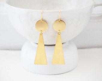 Brushed Gold Geometric Circle and Triangle Earrings