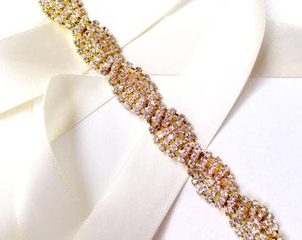 Sash - Twisted Rhinestone Bridal Belt Sash or Headband in Gold - Custom Ribbon White Ivory - Crystal Wedding Dress Belt - Long