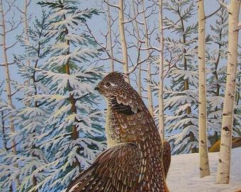 Ruffed Grouse Print by Doug Walpus, 11 x 14, Acrylic, Bird Print, Game Birds, Hunter, Wall Decor, Wall Art, Art and Collectibles, Gifts