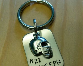 Hand Stamped Football Keychain  - Football Team Gift - Personalized Keychain