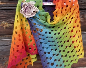 Wool knitted shawl Handknitted lace shawl  rainbow shawl Stole Shawl Rainbow. Fine wool.