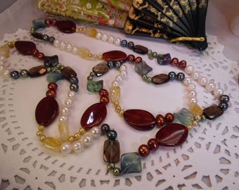 """Long and Chucky 54"""" Faux Pearl -Glass and Stone Necklace"""