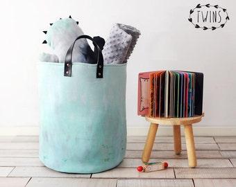 Aquamarine basket,XXLarge Round Nursery Basket, laundry basket, toy storage, Toy basket, storage bin, laundry hamper, nursery storage