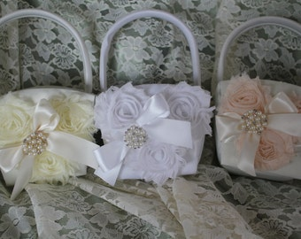 3 Cream or White Flower Girl Baskets-Custom Colors--U-PICK