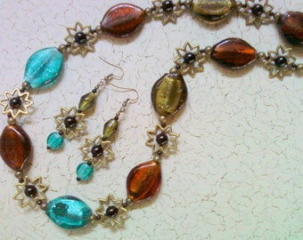 Chunky Brown, Olive Green, Teal, Black and Brass Sunburst Necklace and Earrings (2116)