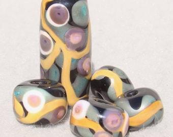 RIVE GAUCHE Set(5) Handmade Lampwork Art Glass Beads- Flaming Fools Lampwork Art Glass  sra
